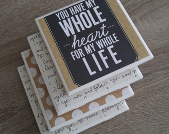 Ceramic tile coaster set gift for loved one