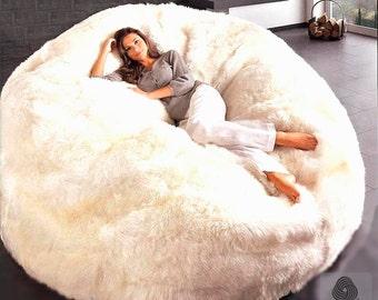 Modern Jumbo Sheepskin Beanbag Theatre Chair Furniture Wool