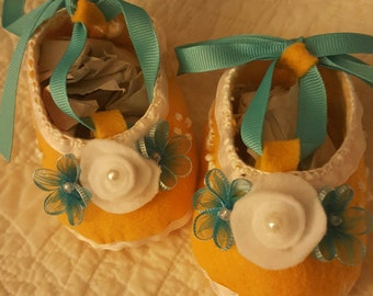 Yellow Booties with White and Turquoise Accents