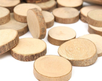 60 small  wood slices Wood tag