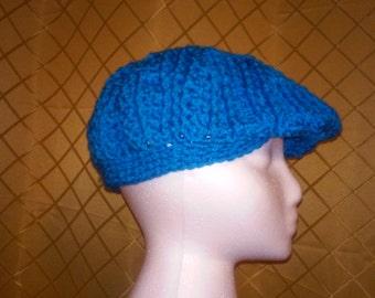 Handcrafted Crochet Teal Golf Cap, Newsboy cap, Flat Cap.