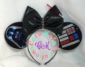 Darth Vader Inspired Mouse Ear, Star Wars, The Force, Light Saber, Dark side. Custom Ears