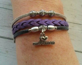 Gymnastics Charm Bracelet// Purple & Gray Friendship Bracelet// Girl's Sports Bracelet// Gymnastics Gift// Choose ONE Charm and Cord Colors