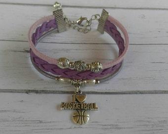 Girls Basketball Bracelet// Friendship Bracelet// Team Colors// Basketball Mom// Basketball Gift// Choose  Colors & Sports Charm
