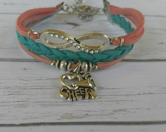 Pink & Turquoise Infinity Bracelet// Cheer Charm Bracelet// Girls Sports Jewelry// Cheerleader Gift// Choose 1 Charm and Cord Colors