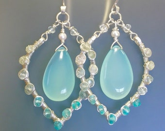Aqua chalcedony, natural zircon, aquamarine, apatite