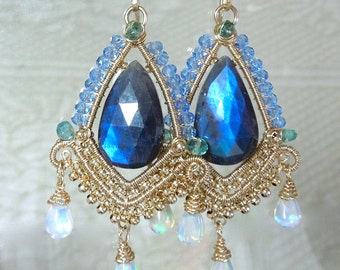 Labradorite blue flash, Ethiopian opal, Columbian emerald