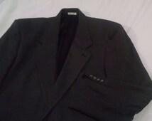 44R Vintage Men's Charcoal Gray Herringbone Silk Wool Blazer Sport Coat Jacket