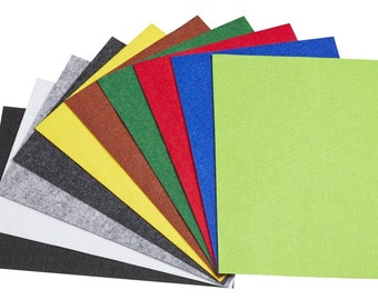self-adhesive felt set with 10 plates in different colors - 21 x 29.7 cm