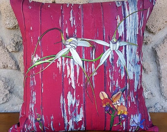 Cushion Cover Longicordia & Orchids on Red Painted Wood, throw cushions, homewares, decorative pillows, digital art
