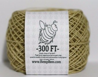 Organic Hemp Wick  by HempBees. 300 Ft with tracking.