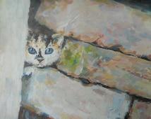 Cute Funny Kitten Oil Painting Blue-eyed cat Nursery Children Art Face Portrait Interior Painter on Canvas palette knife
