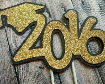 Graduation Cake Topper, Class of 2016 Cake Topper, Graduation Party Decor, Graduation Centerpieces, Grad Party Decoration, Class of 2016