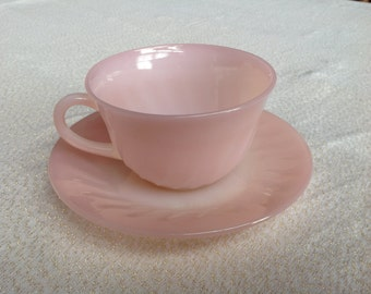 Fire King Pink Tea Cup with Saucer