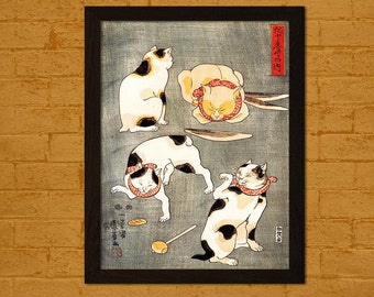 Bamboo Paper Japanese Art Print Four Cats In Different Poses Utagawa Ukiyo-e Poster Wall Decor Japan Oriental Decor Asian Art