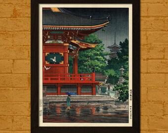 Japanese Art Print Rain at Asakusa Kannon Temple 1933 Koitsu Ukiyo-e Print  Edo Period Japanese Poster