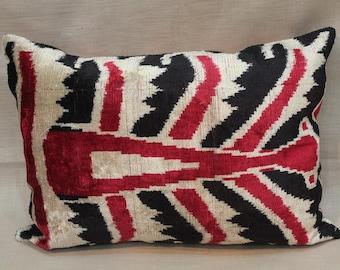 Double Side Ikat Pillow Case -  15.5'' x 21'' Decorative Pillows For Couch Sofa Pillows Lumbar Pillow Back Side Silk İkat Pillow Cover