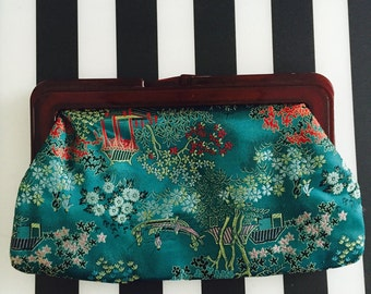 Vintage Asian Clutch/Turquoise Clutch/Silk Asian Clutch/silk asian handbag/vintage handbag/vintage Asian handbag/vintage Asian tote
