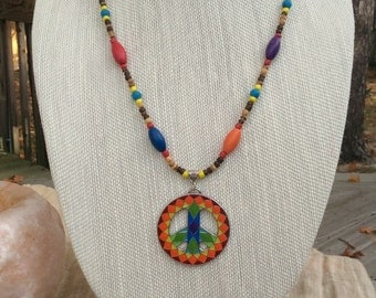 Mosaic Peace Sign Necklace