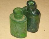 Green glass bottles аntique stationery Inkwell set ink well bottle old medicine bottles antique small vintage for sale dark glass _ SET of 2