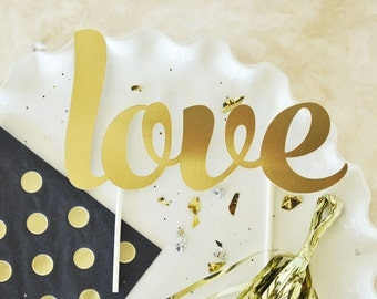 Gold Engagement Cake Topper, Love Cake Topper, Mrs and Mrs Cake Topper
