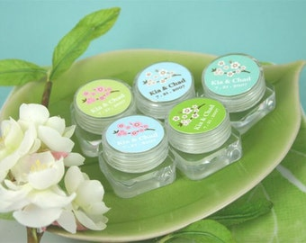 Personalized Cherry Blossom Lip Butter - Lip Balm Favors- Bridal Party Gifts - 24 pieces