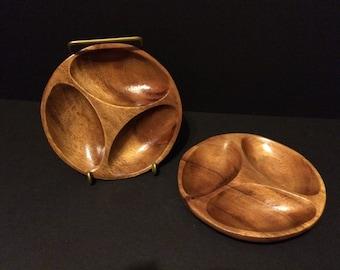 """Vintage Monkey Pod Wood Divided Bowls 6"""" diameter"""
