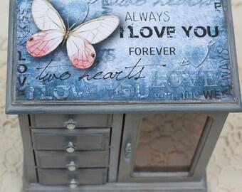 Blue Decoupage Upcycled Vintage Medium Jewelry Box