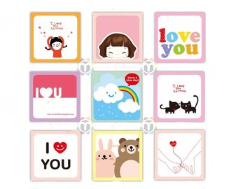 Little Love Cards, Mini Love Gift Tags, Set With Envelopes