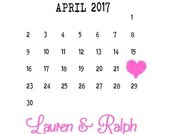 Pretty Heart Calendar Save The Date