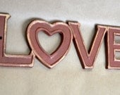 LOVE Wall Decor - Cast Iron - Red with Gold Trim