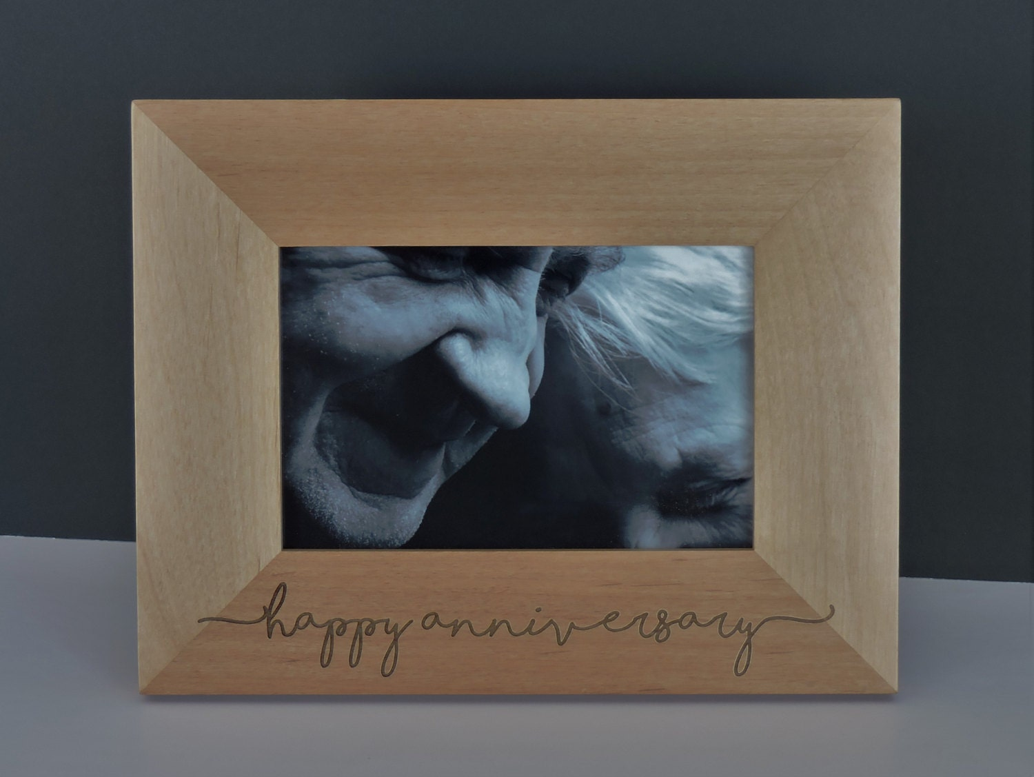 Anniversary photo frame wood engraved with your message