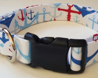 dog collar, red, white, and blue anchor, anchors, anchor collar, anchor dog collar, nautical, nautical collar nautical dog collar