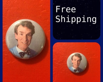 Bill Nye, The Science Guy Button Pin, FREE SHIPPING & Coupon Codes