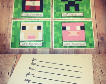 Handmade Minecraft Birthday Invitations; Minecraft Creeper, Minecraft Sheep, Minecraft Pig, Minecraft TNT