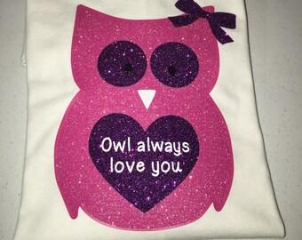 Owl Valentine's Day shirt