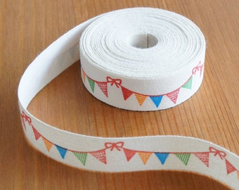 2 metres/10 metres: Fabric Ribbon Colorful Party Flag 15mm Zakka Cotton Labels Bow Embellishment Nursery Deco Sewing Scrapbook Craft DIY