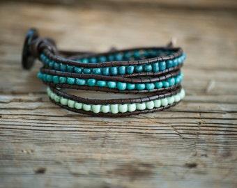 Aqua ombre wrap bracelet