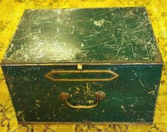 Vintage Antique Green Rustic Painted Metal Box