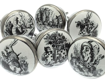 Set of 6 'Exclusive' Alice in Wonderland Ceramic Cupboard Knobs in Antique Silver (MG-29)