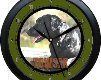 """Black Labrador Retriever 10"""" Personalized Wall Clock Gift"""