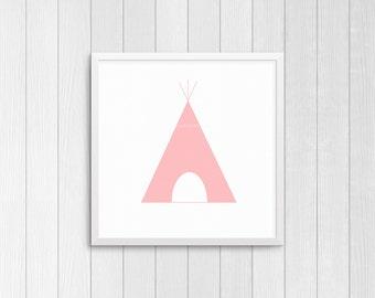 Pink Tipi, square 10x10, 8x8, & 5x5 Art Decor Digital Print