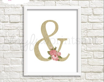 Burlap & Roses Ampersand Print, 8x10, Instant Download