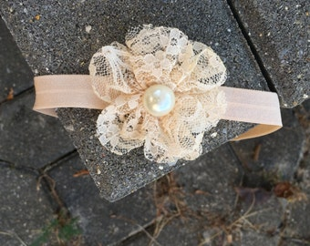 Peach Lace Flower Headband with Pearl Center