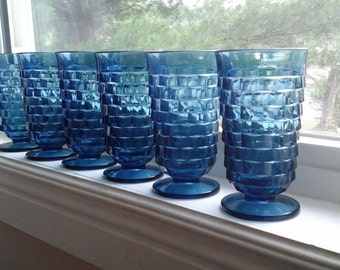 Six Footed Tumblers, Dark French Blue, Colony, Indiana Glass, Whitehall, Riviera