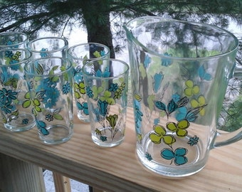 Pitcher, 6 Tumblers, Teal & Chartreuse Floral Glasses and Pitcher Set, Turquoise, Lime Green Pitcher Set