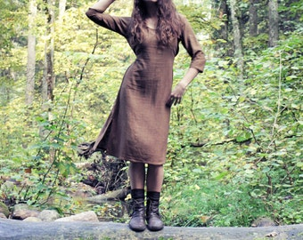Brown khadi cotton dress. One size. More colours available.