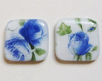 Set of 3 fused glass cabochons with blue indigo rose and leaf design on white glass