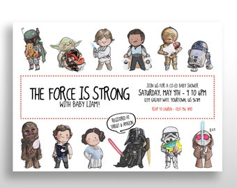 CUSTOMIZED PRINTABLE Star Wars Baby Shower Invitations, Star Wars Themed Baby  Shower Invite, Instant