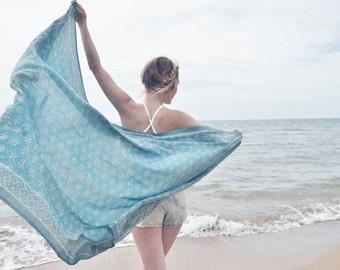 Boho blue beach sarong, indian scarf, ethnic scarf, boho scarf,blockprint scarf, bohemian blanket,